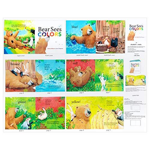 (Elizabeth's Studio Bear Sees Colors 36'' Book Panel Multi)