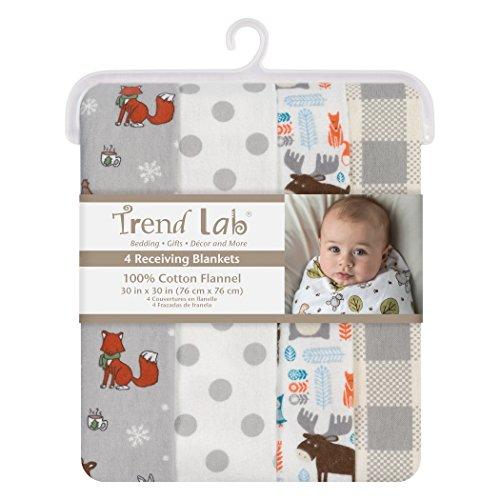 Trend Lab Scandi Cocoa Flannel Blankets, 4 Piece -