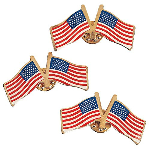 - Fun Express American Double Waving Flag Clutch United States USA, 6 Dozen Metal Lapel Pins