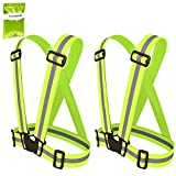RoryTory 2pc Adult Outdoor Sports Neon Green and Silver Reflective Safety Belts