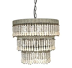 "Creative Co-Op Metal and Wood Beaded Chandelier, 20.5"" Round by 20"" Height"