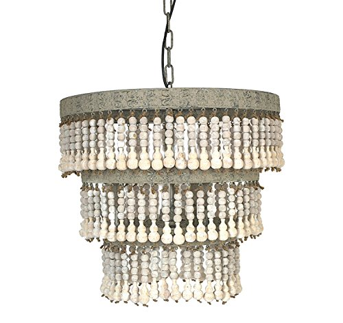 Creative Co-op DA3779 3-Tier Round Metal Chandelier with Hanging Wood Beads Review