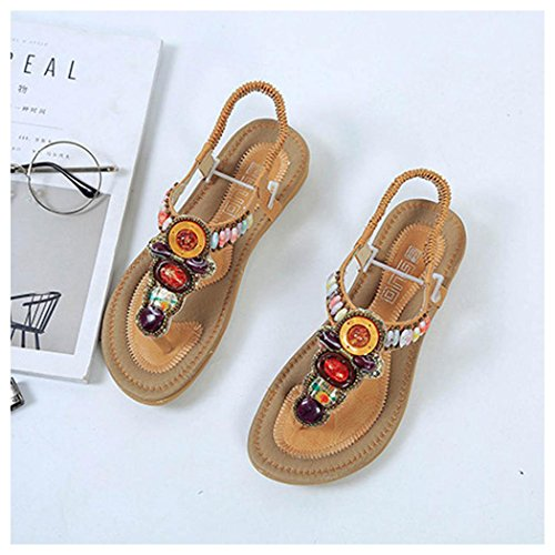 Women Bead Sandals Sandals Summer Bohemia Flat Toe Outdoor Yellow Peep Shoes Inkach Shoes String YpwqHnCqEd