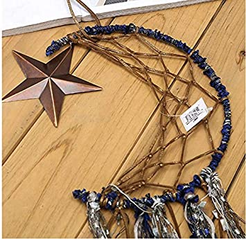 Blue YCH Dream Catcher Handmade Moon Star Design with Feathers Dreamcatcher Wall Hanging Home Decoration for Kids Room Ornament Craft Gift