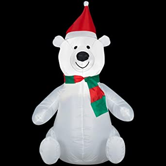3.5 Ft. Airblown LED Lighted Polar Bear & 3.5 Ft. Airblown LED Lighted Polar Bear - Outdoor Decor - Amazon.com