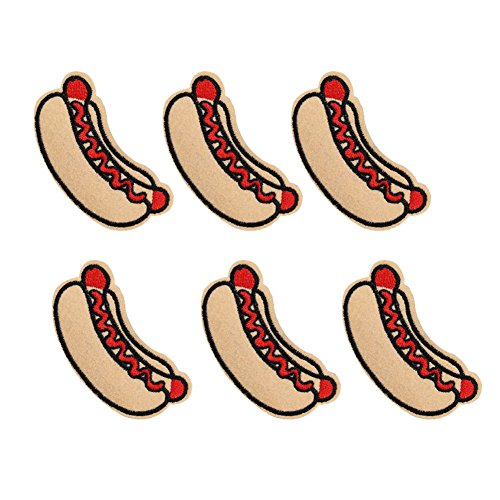Iron Hot Dog - XUNHUI Hot Dog Patches Badge for Clothing Iron Embroidered Patch Applique Iron Patches Accessories for Clothes 6 Pieces