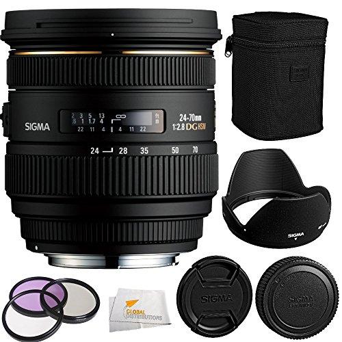 Sigma 24-70mm f/2.8 IF EX DG HSM AF Standard Zoom Lens for Nikon Digital SLR Cameras + 3 Piece Filter Kit (UV-CPL-FLD) + Microfiber Cleaning Cloth