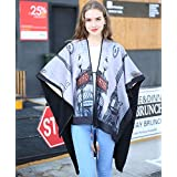 Printed feathers to decorate P-U and long autumn/winter air conditioning in Office Cape cloak