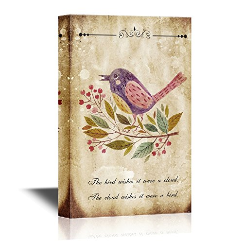 Hand Painted Adorable Bird on Vintage Background