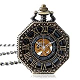 Vintage Pocket Watch, Octagon Roman Numbers Mechanical Pocket Watch for Men, Hollow Hand Wind Pocket Watch Gift