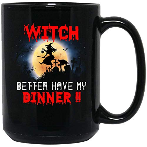 Coffee Mug Halloween Witch Dinner Adult Coffee Mug Gift Idea Ceramic (Black, 15 OZ) -