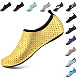 VIFUUR Unisex Quick Drying Aqua Water Shoes Pool Beach Yoga Exercise Shoes for Men Women Gold1 38/39