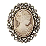 Jana Winkle Vintage Queen Cameo Crystal Brooch Pins Women in Antique Gold ColYellow
