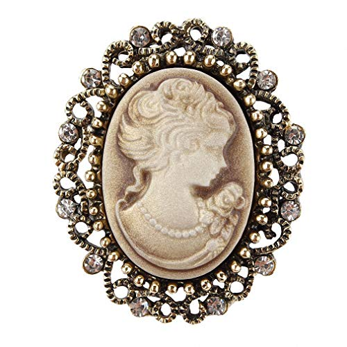 Pin Cameo Silver Sterling - Jana Winkle Vintage Queen Cameo Crystal Brooch Pins Women in Antique Gold ColYellow