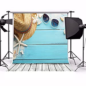 AOFOTO 10x10ft Photography Backdrop Seaside Vacation Starfish Sunglasses Hat Shell Wooden Floor Toddler Adult Artistic Portrait Girl Background Photo Shoot Studio Props Video