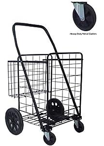 metal swivel wheels jumbo folding shopping grocery laundry cart with extra basket heavy duty metal caster swivel wheels for heavy loads - Laundry Carts