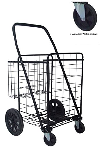 Metal Swivel Wheels JUMBO Folding Shopping Grocery laundr...