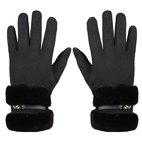 GLOUE Women's Touch Screen Gloves Texting Suede Leather Warm Winter Feast Gloves Driving riding outdoor and indoor fashion gloves (Black)