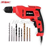 "Hi-Spec 400W Multi Purpose Corded Electric Power Drill 3/8"" (10mm) Keyless Chuck, Variable Speed Control with 9 Piece Drill Bits for Metal, Masonry, Wood & Plastic DIY Drilling & Repairs"