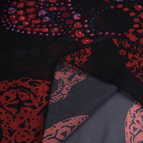 V Chic Tops t Swimsuit Manches Longues Casual de Plage Rouge Crane Chemise Impression Bain Imprimer col Dbardeur Mode Maillot Femme Gilet Bikini Smock Chemisier T Shirt Blouse Vest n7wSqE5xy8