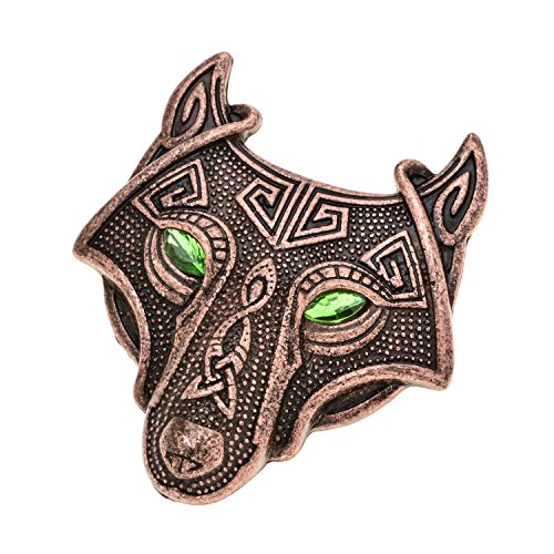 (W WOOGGE Viking Norse Wolf Head Brooch Pin Green Eye Antique Copper Gothic Pendant Irish Viking Penannular Clothes Fasteners Scarf Lapel Pin)