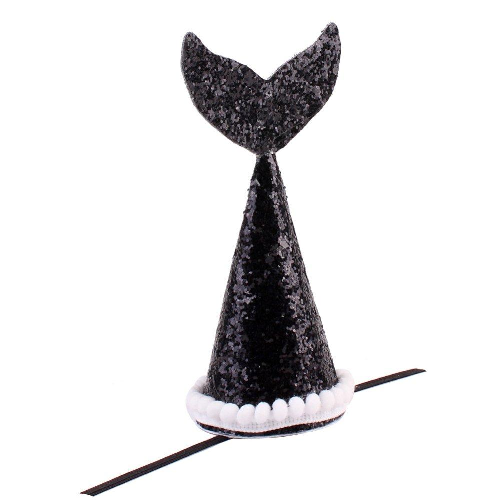wanshenGyi Pet Headwear, Classic, Stylish, Hot, Practical, 1Pc Cute Pet Dog Cat Headwear Shiny Sequin Crown Hair Mermaid Tail Decoration - Black Home, Work, Travel Outside