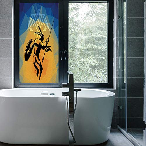 C COABALLA Privacy Frosted Decorative Vinyl Decal Window Film,Native American,for Bathroom, Kitchen, Home, Easy to Install,War Dance Ritual Against Ancient Totem Poly Effect,24''x48''