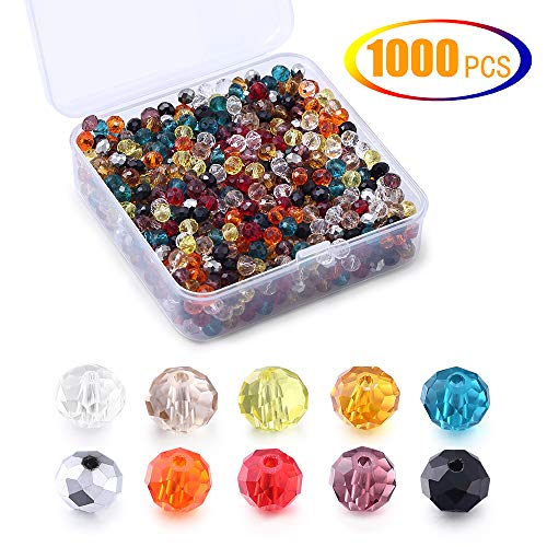 Briolette Crystal Glass Rondelle Faceted Beads,Multi-Color Clear Crystal Spacer Beads for Beading Craft Jewelry Making,6mm,1000Pcs
