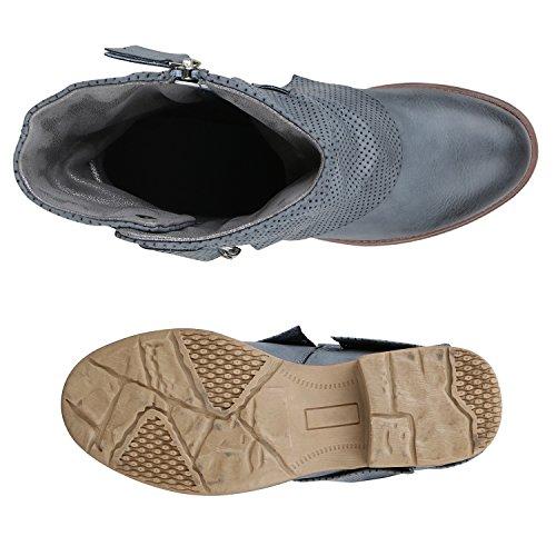 Stiefelparadies Gefütterte Damen Biker Boots Glitzer Stiefeletten Nieten Schuhe Flandell Hellblau Prints Nieten