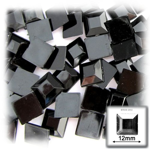 The Crafts Outlet 144-Piece Flat Back Square Rhinestones, 12mm, Jet - 144 Piece Rhinestones Square