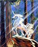 Light in the Forest Sue Dawe Unicorn Horse Wall Decor Art Print Poster (16x20)