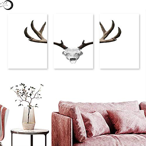 J Chief Sky Antlers Decor Home Decor A Deer Skull Skeleton Head Bone Halloween Weathered Hunter Collection Triptych Art Set Triptych Art Canvas W 24