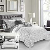 Chic Home 9 Piece Beckham Contemporary geometric reversible Bold Lines hotel collection bed in bag, Grey