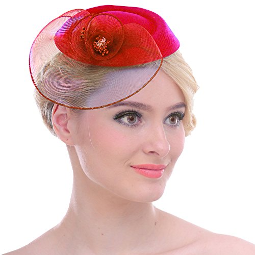 FAYBOX Vintage Mesh Wool Felt Pillbox Flower Women Fascinator Hat Hair Clip Red by FAYBOX