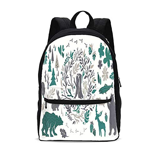 Cabin Decor Durable Backpack,Hand Sketched Elements of Northern Forest Berries Trees Fish Rabbit Bird Decorative for School Travel,10.6