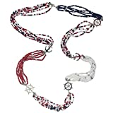 Long Nautical Theme Beaded Necklace (Red White & Navy Blue)