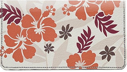 - Hawaiian Pattern Leather Checkbook Cover