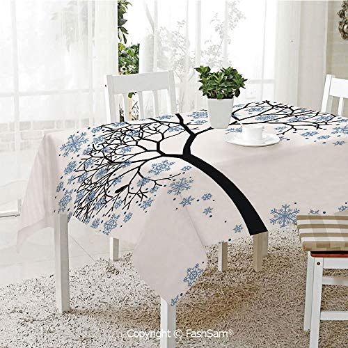 AmaUncle Party Decorations Tablecloth Barren Tree Silhouette with Snowflake Leaves Hand Drawn Interpretation Snow Season Decorative Resistant Table Toppers (W60 xL84)]()