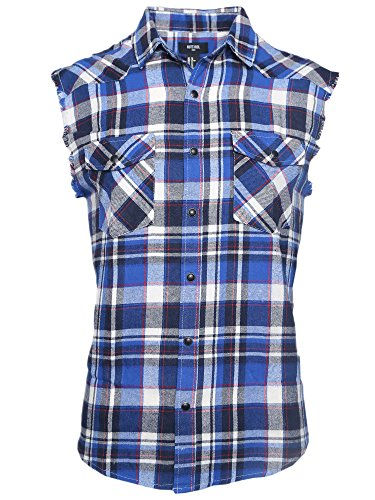 NUTEXROL Men's Casual Flannel Plaid Shirt Sleeveless Cotton Plus Size Vest Button Down Sleeveless