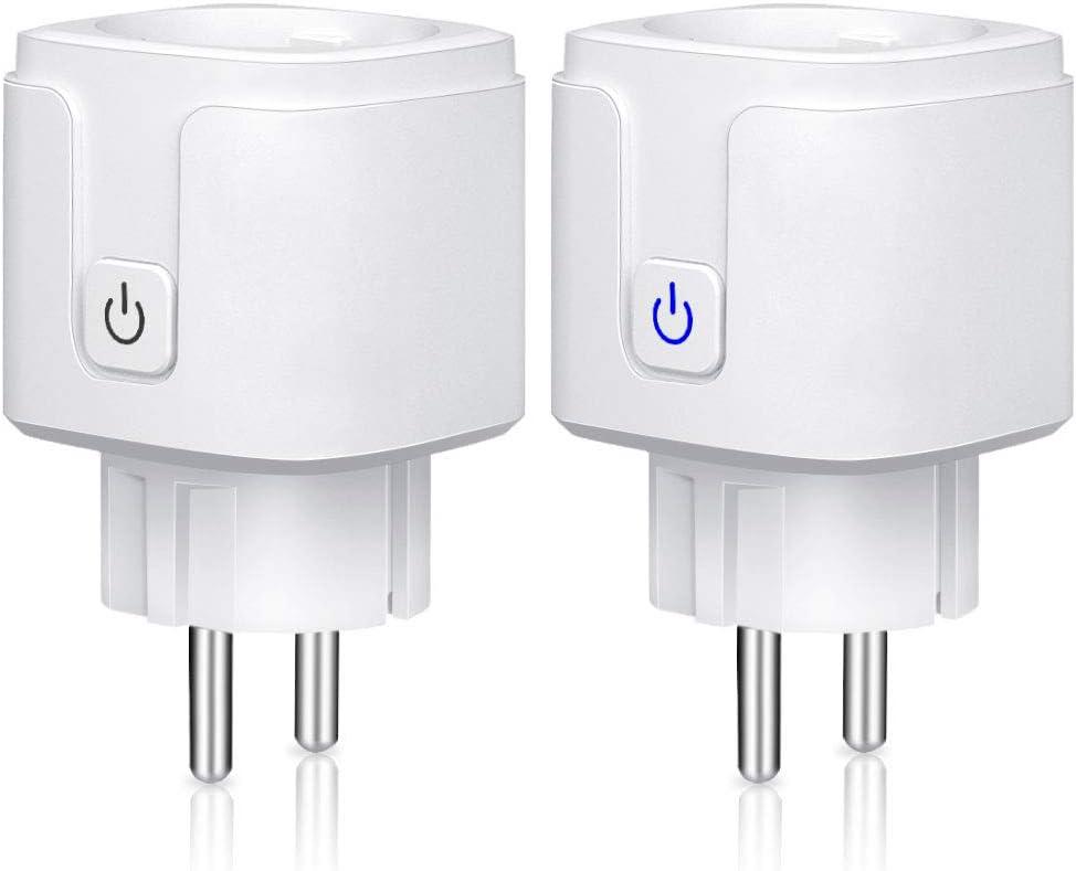 Enchufe inteligente wifi, 16A-3680W Mini Smart Plug compatible con Amazon Alexa, Echo, Google Home, IFTTT, Android iOS, Control por Voz, Control remoto, Función de Temporizador, No se Requiere