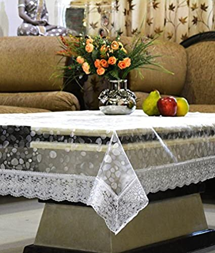 Kuber Industries PVC Table Cover   3D Transparent, Silver Lace, 4 Seater