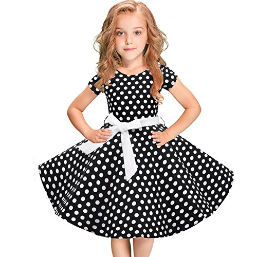 Girls 50s 'Audrey' Vintage Swing Rockabilly Retro Party Dress for Kids Hepburn Patchwork Polka Dots Costume Short Ball Gown #2-Black Dots+Belt 4-5 ()