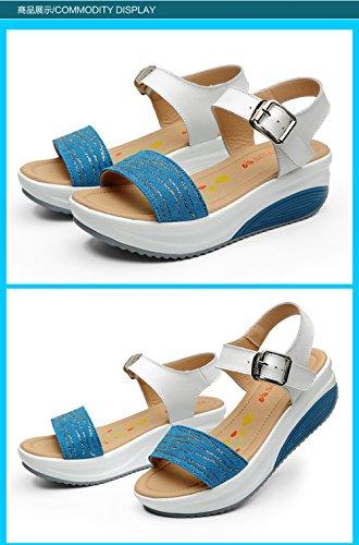 SPEEDEVE Sandalias de Cuña Mujer Ultralight Sandalias de Plataforma Plateadas con Hebilla Prime-Azul