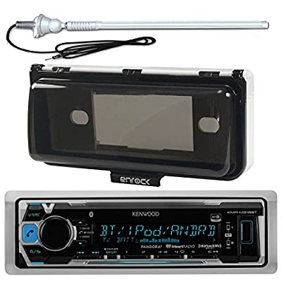 New Kenwood Marine Boat Yacht Outdoor In Dash Bluetooth MP3 USB AM/FM Radio Stereo Player With Splashproof Radio Cover + Marine Radio Antenna - Complete Marine Radio Kit - (Mechless Receiver)