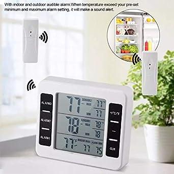 Termómetro digital para refrigerador, alarma audible inalámbrica ...