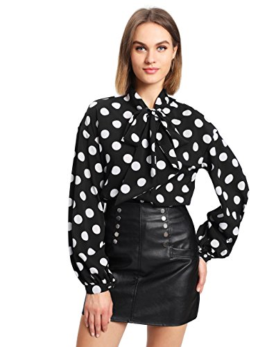 Floerns Women's Bow Tied Neck Lantern Long Sleeve Polka Dot Blouse Black L (Black And White Polka Dot Long Sleeve Shirt)