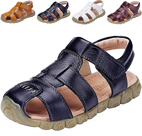 DADAWEN Boy's Girl's Leather Closed Toe Outdoor Sport Sandals (Toddler/Little Kid/Big Kid) Black US Size 11.5 M Little Kid (Sandal Closed Toe Fisherman)