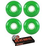 Skateboard Wheels 97A 53mm Kelly Green with Bones Reds Bearings
