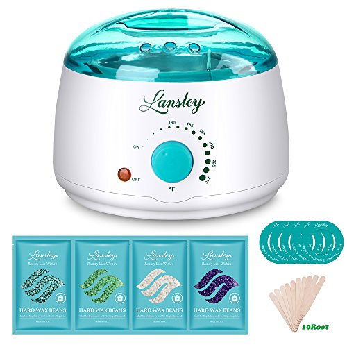 Lansley Wax Warmer Hair Removal Home Waxing Kit Electric Pot Heater for Rapid Waxing of All Body, Face, Bikini Area, Legs with 4 Flavor Hard Wax Beans & 10 Wax Applicator Spatulas(At-home Waxing)