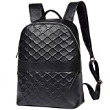 Fashion Genuine Leather Backpack School College Bookbag Plaid Laptop Computer Backpack 189-1 (Black)